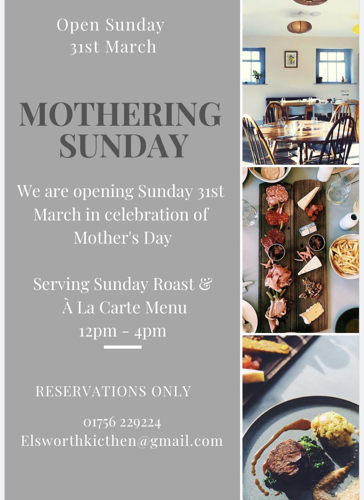 mothering sunday menu skipton