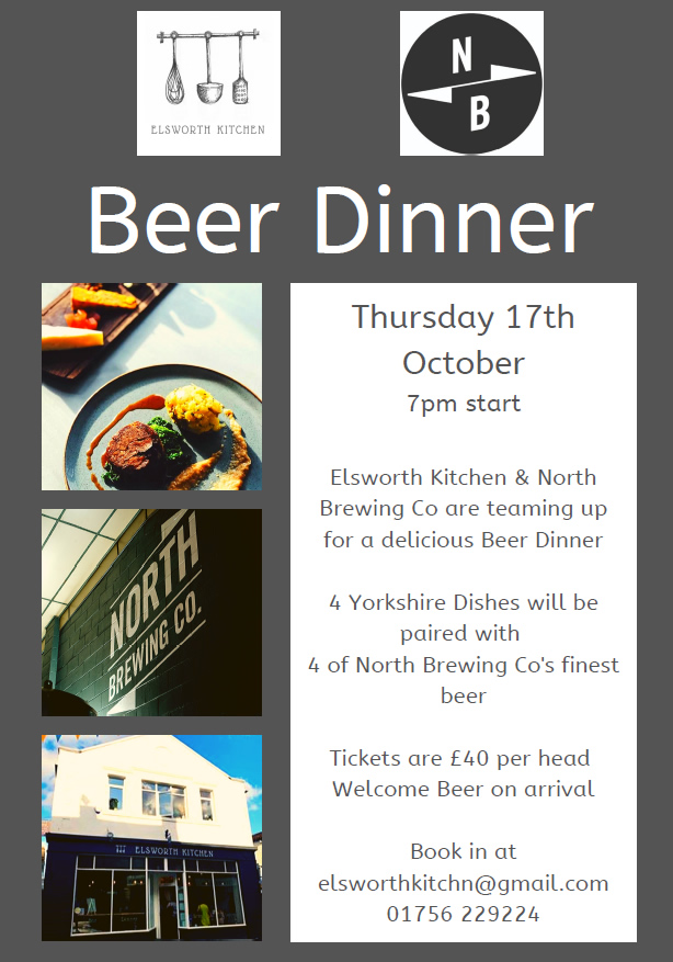 skipton restaurant beer evening poster with North Brewing Company