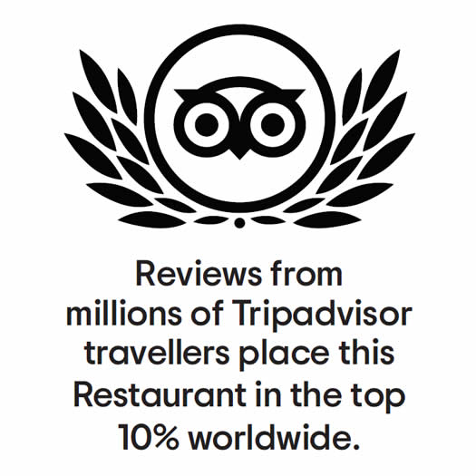 reviews from millions of tripadvisor travellers place this restaurant in the top 10% worldwide